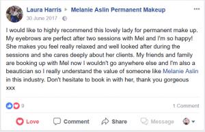 Melanie Aslin Permanent Makeup- Laura Testimonial